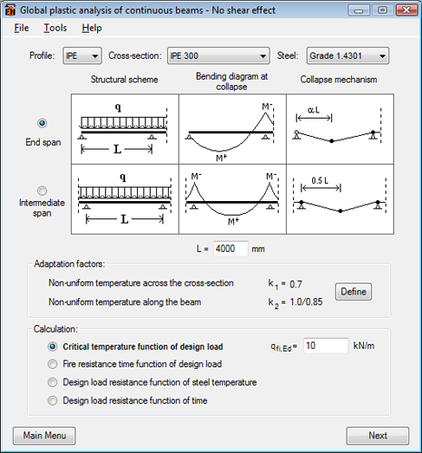 Elefir-EN - software for fire design of steel structural members